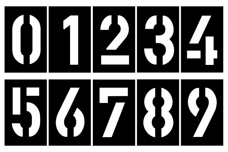ZAHLENSCHABLONEN SATZ 0-9, KUNSTSTOFF 0,5 MM SCHRIFTART DIN 1451