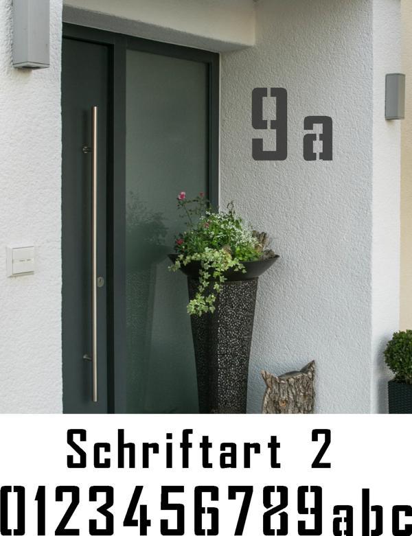 Hausnummer Schablonen Schriftart 2
