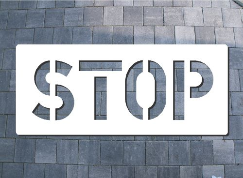 Bodenlogoschablone zum Sprühen STOP