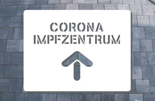 Corona Impfzentrum Sprühschablone