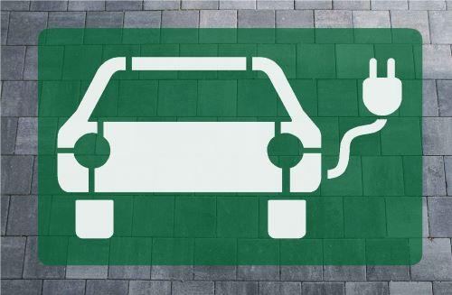 E-Auto Ladestation Bodenmarkierung grün-weiß