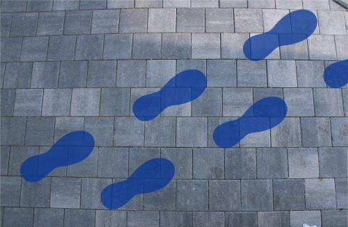 Bodenschablone zum Sprühen Fußabdruck