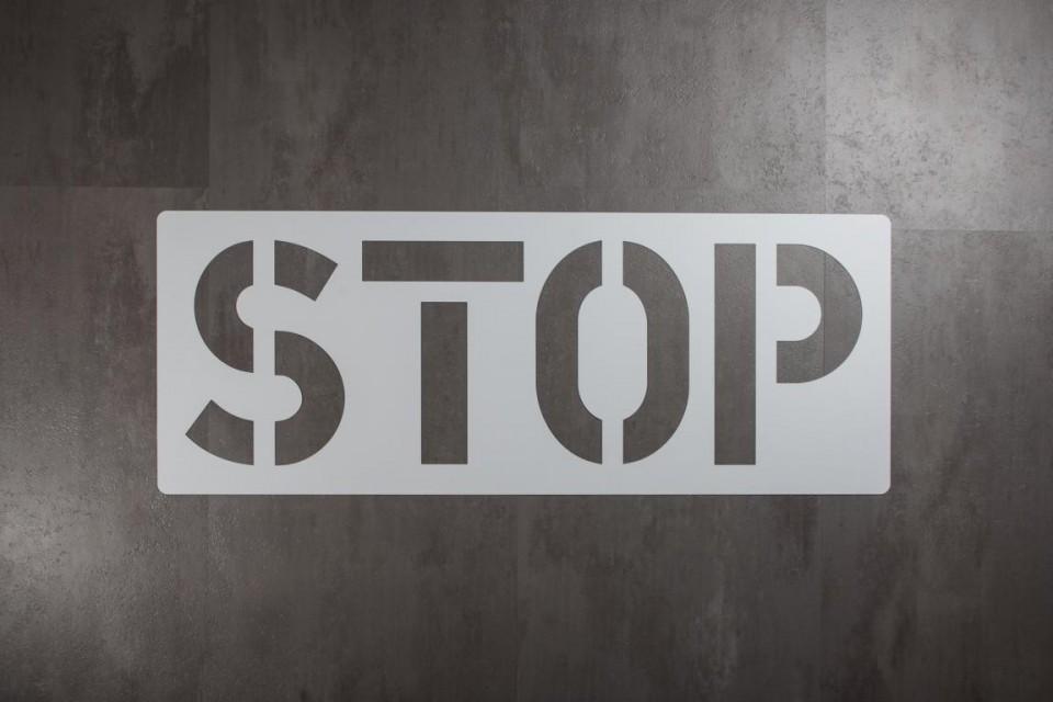 Bodologoschablone zum Sprühen STOP
