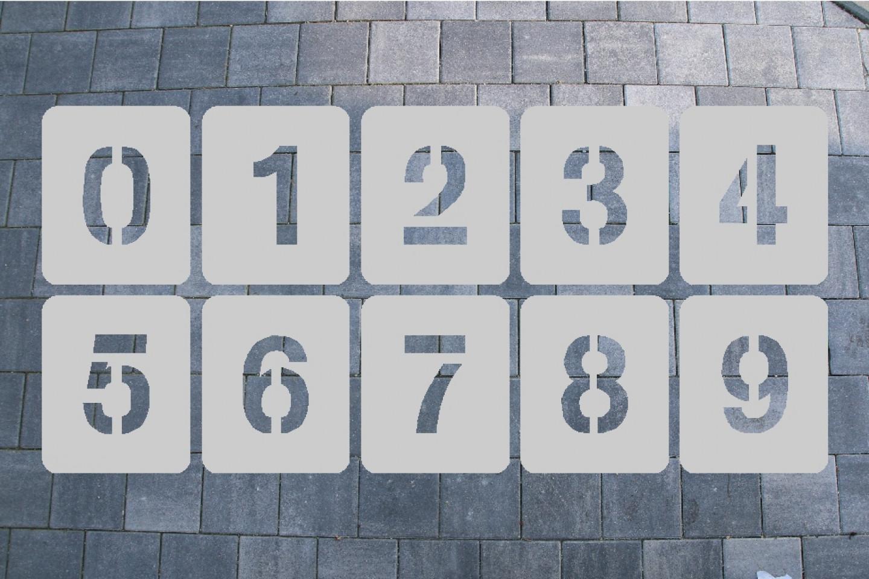 ZAHLENSCHABLONEN SATZ 0-9, ALUMINIUM 0,8 MM SCHRIFTART MG-STANDARD 1