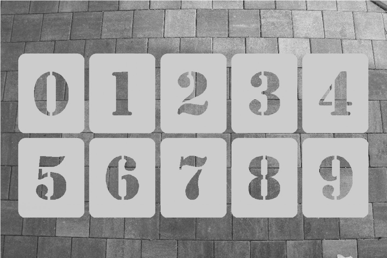 ZAHLENSCHABLONEN SATZ 0-9, ALUMINIUM 0,5 MM SCHRIFTART MILITARY 1