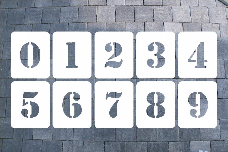 ZAHLENSCHABLONE SATZ 0-9, KUNSTSTOFF 0,5 MM SCHRIFTART MILITARY 1