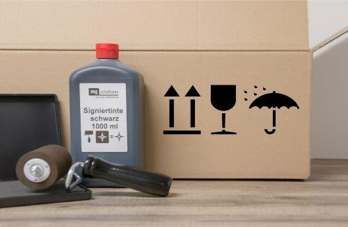 Schablone Verpackungssymbol Pfeil, Glas, Schirm