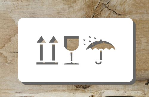 Verpackungs Piktogramme Schablone