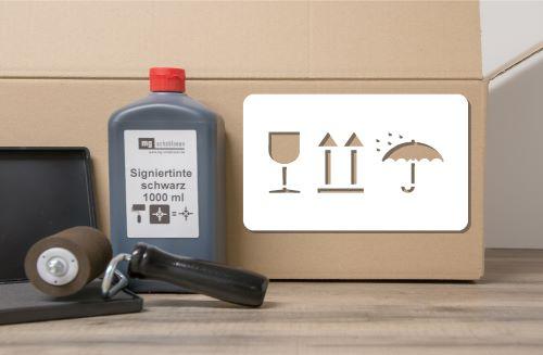 Pfeil, Glas, Schirm Verpackungssymbole Schablone