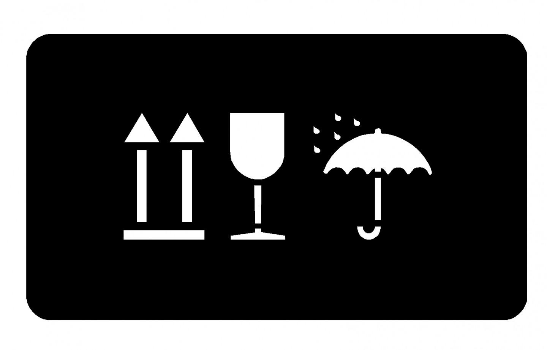 WARN- UND HINWEISZEICHEN SCHABLONE PFEIL, GLAS, SCHIRM NEBENEINANDER